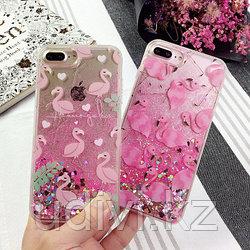 Чехол падающие сердечки Фламинго на iPhone 7
