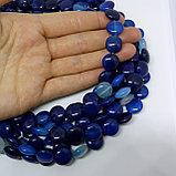 Агат таблетка, синий, 12мм, фото 2
