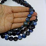 Агат таблетка, сине-коричневый, 12мм, фото 2