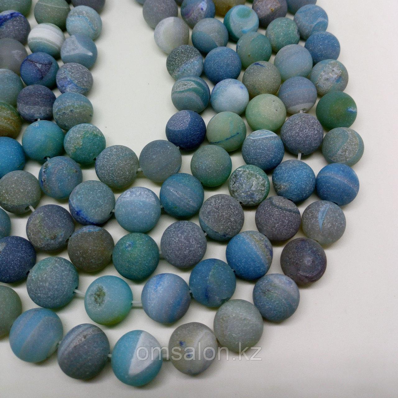 Агат голубой с друзой, матовый, 12 мм