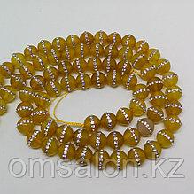 Агат жёлтый со стразами, 10 мм