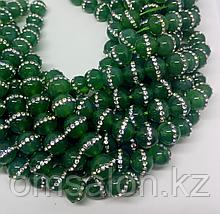 Агат зелёный со стразами, 10 мм