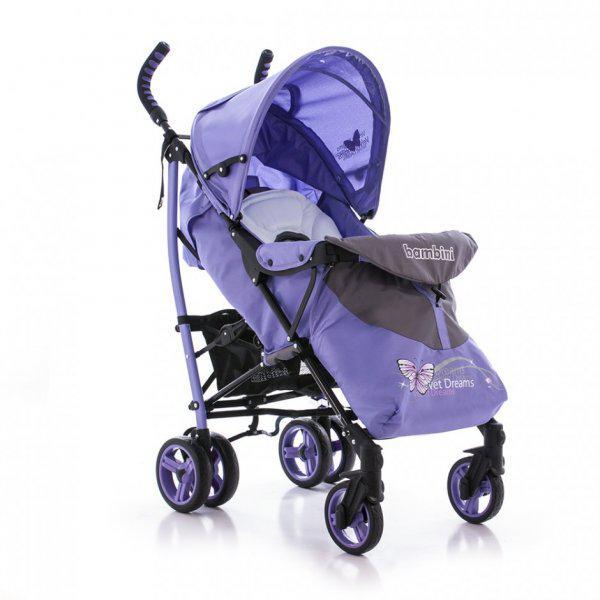 Коляска BAMBINI SHUTTLE + накидка на ножки Фиолетовый/Violet Butterfly