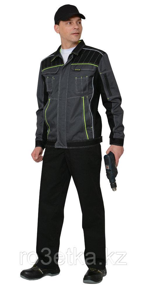 """Костюм """"Престиж"""" : куртка,п/к, цв. темно-серый с лимонным кантом"""