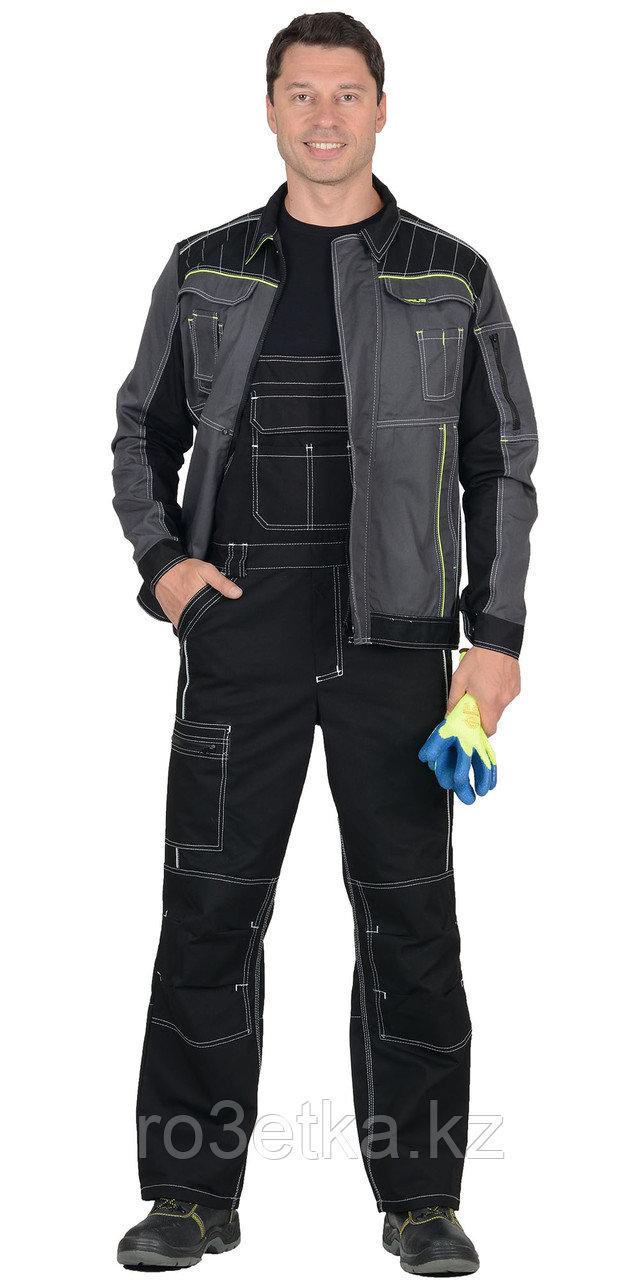 """Костюм """"Престиж"""" : куртка, п/к """"Престиж"""" чёрный, цв. темно-серый с лимонным кантом"""