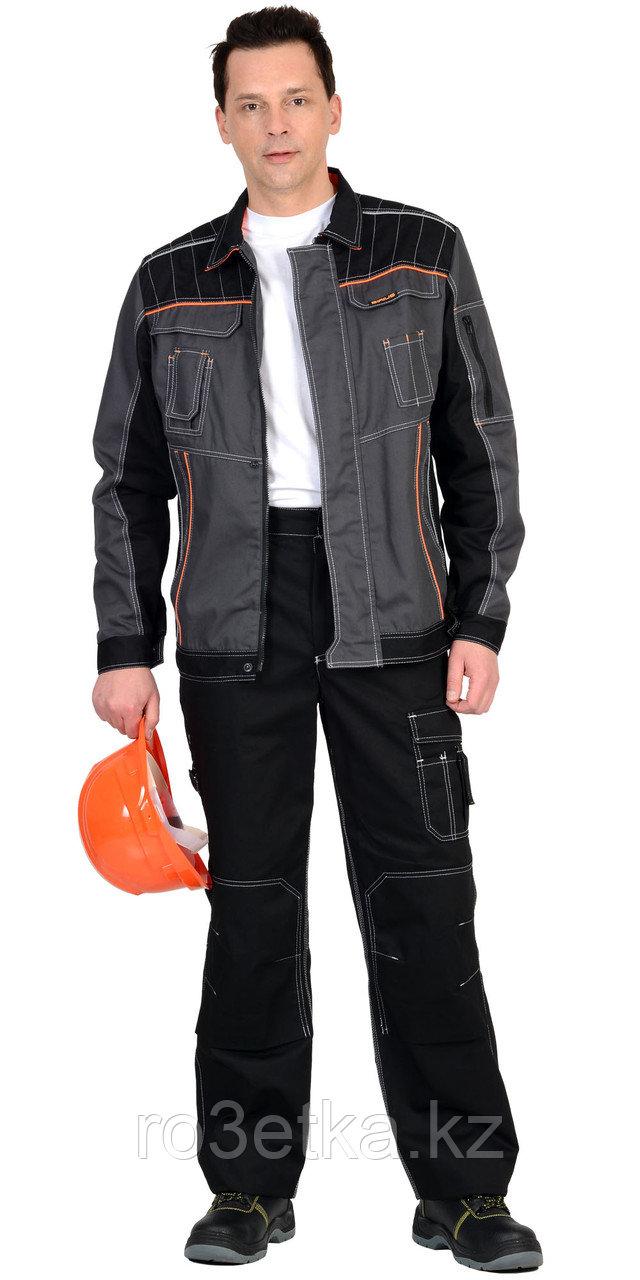 """Костюм """"Престиж"""" : куртка, брюки """"Престиж"""" чёрный , цв. серый с оранжевым кантом"""