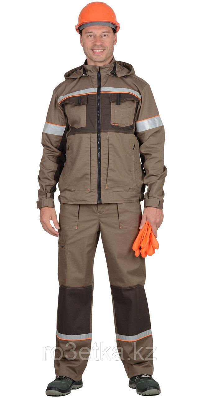 """Костюм """"РОДОС"""" мужской: куртка, брюки (св.-коричневый с т.-коричневым) тк.Родос"""