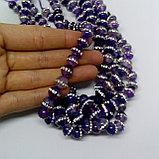 Агат фиолетовый со стразами, 8 мм, фото 2