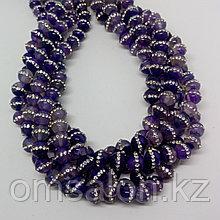 Агат фиолетовый со стразами, 8 мм