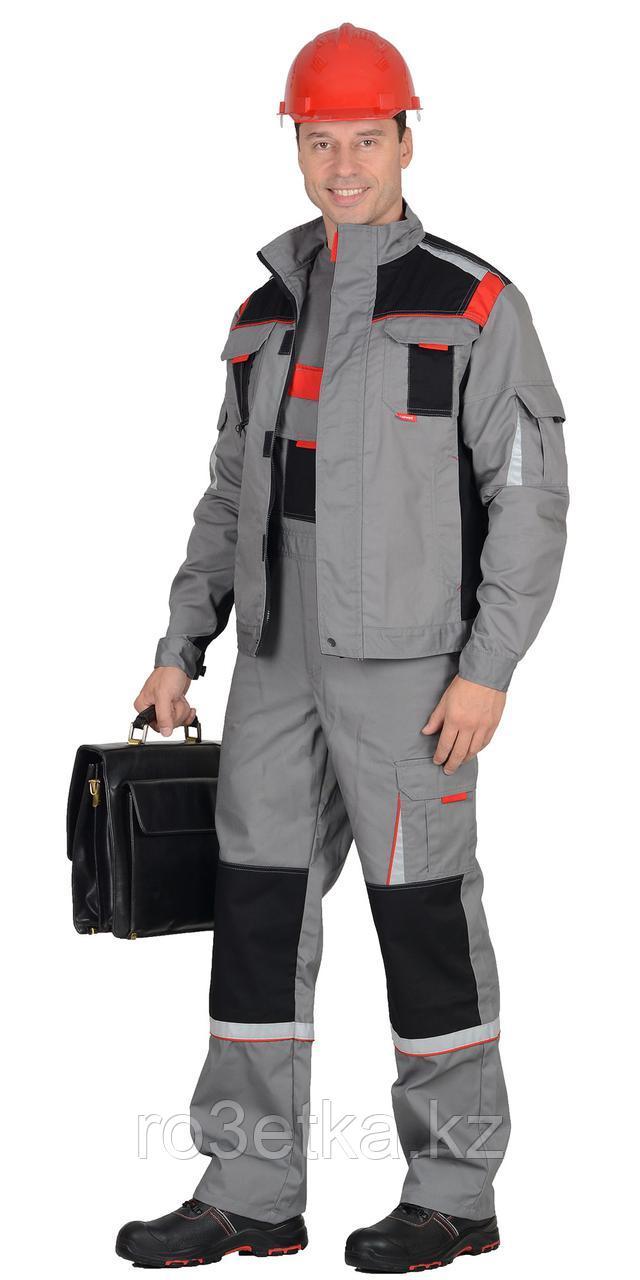 """Костюм """"СТАН"""" : куртка, п/комб ср.серый с черной и красной отделкой"""