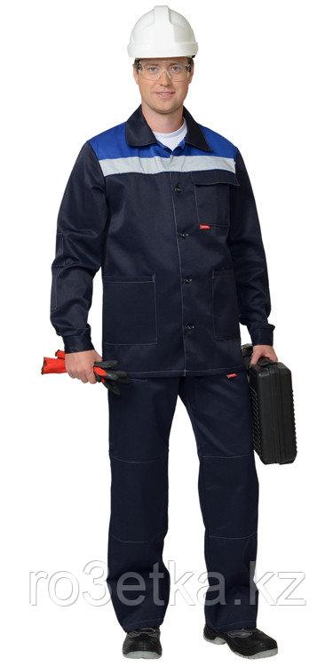 """Костюм """"СТАНДАРТ"""": куртка, брюки тёмно-синий с васильковым и СОП 50 мм."""