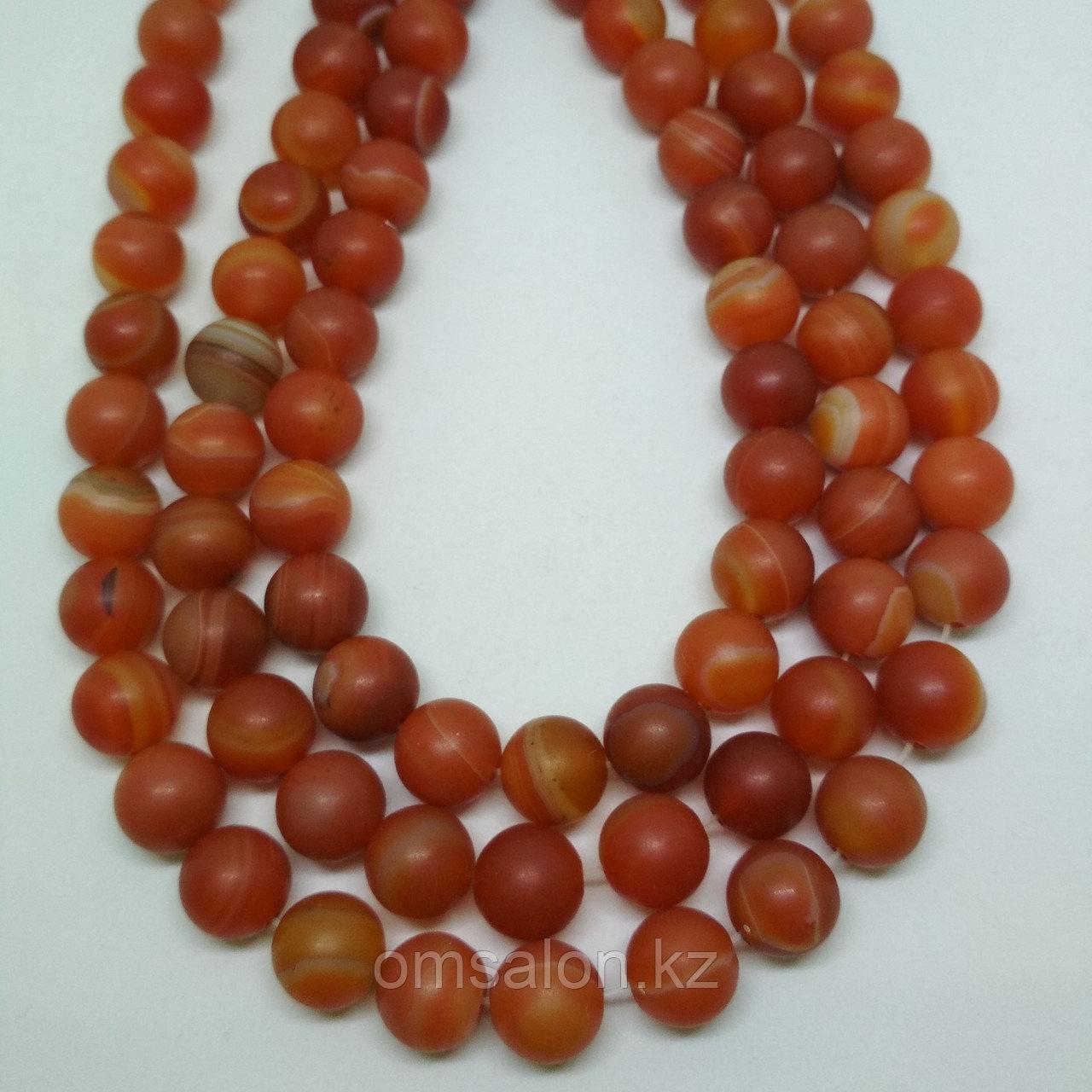 Агат оранжевый, матовый, 10 мм