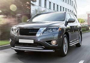 Защита переднего бампера d76+d57 Nissan Pathfinder 2014-