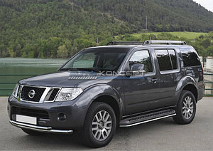 Защита переднего бампера d76+d57 Nissan Pathfinder 2010-2014