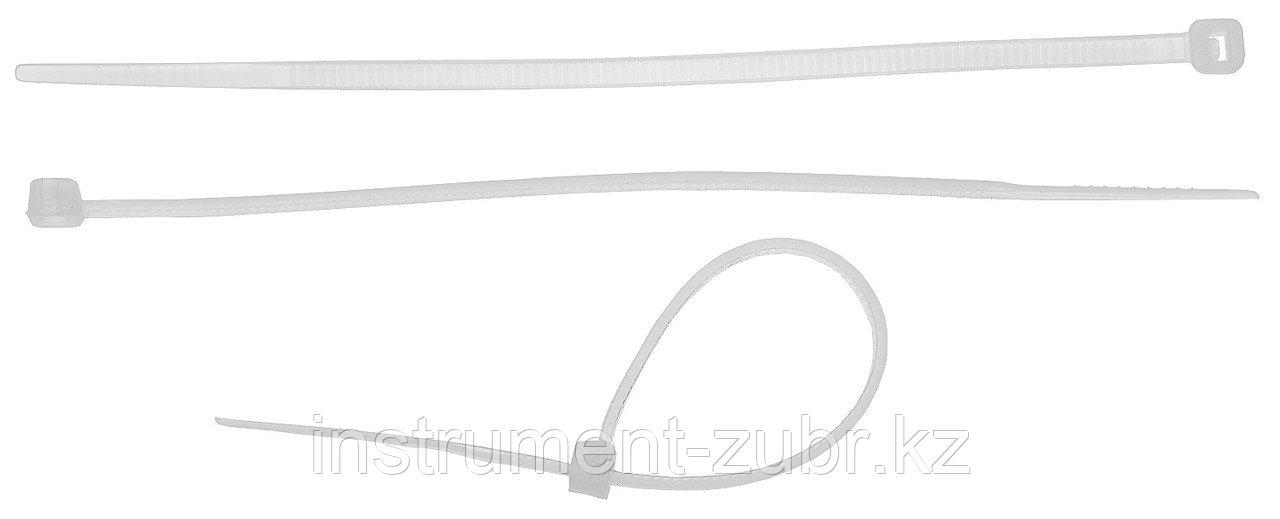 Кабельные стяжки белые КС-Б2, 3.6 х 250 мм, 50 шт, нейлоновые, ЗУБР