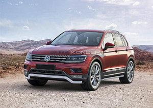Защита переднего бампера d57 волна Volkswagen Tiguan, для пакета offroad 2017-