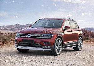 Защита переднего бампера d57+d42 Volkswagen Tiguan, для пакета offroad 2017-