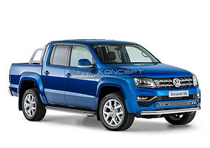 Защита переднего бампера 75х42 овал Volkswagen Amarok 2016-