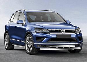 Защита переднего бампера d57+d57 Volkswagen Touareg 2014-