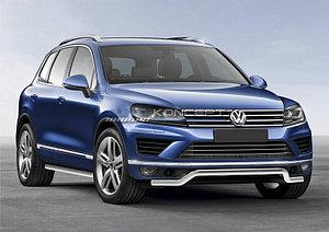 """Защита переднего бампера d57 """"волна"""" Volkswagen Touareg 2010-2014"""