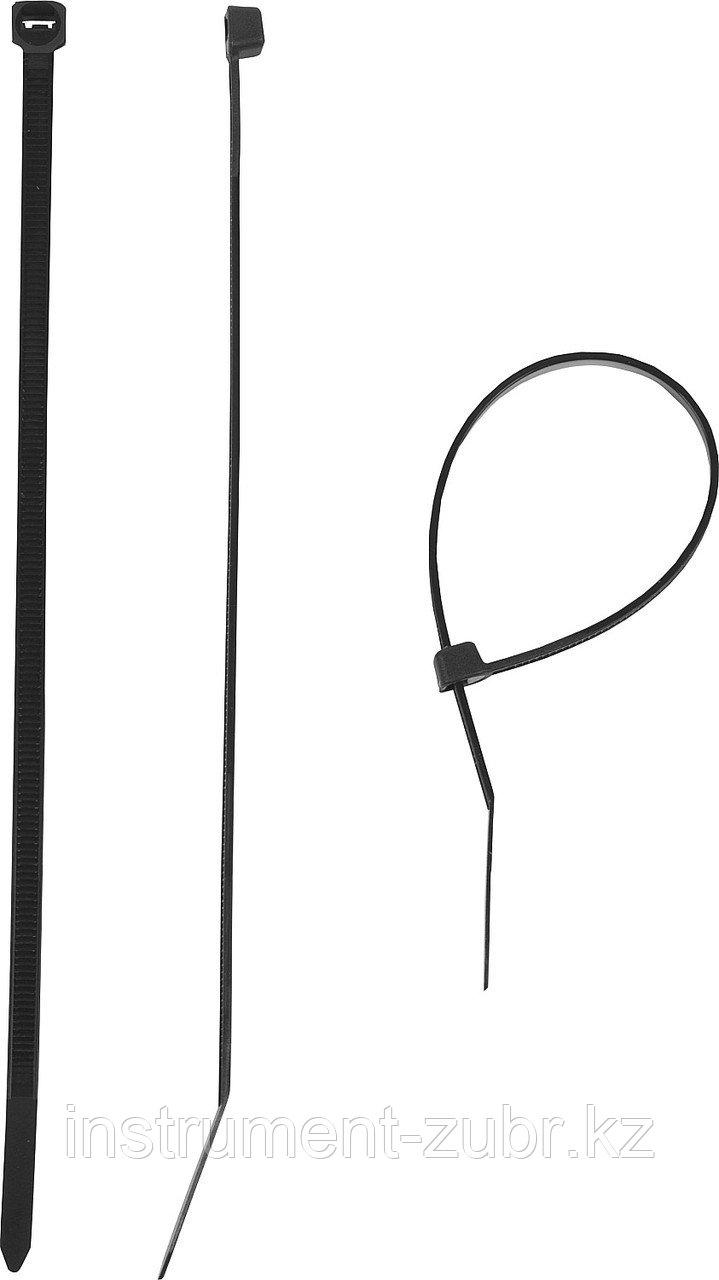 Кабельные стяжки черные КС-Ч1, 3.6 x 300 мм, 100 шт, нейлоновые, ЗУБР