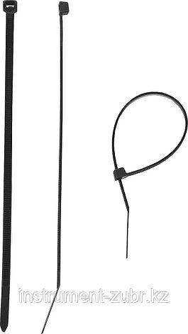 Кабельные стяжки черные КС-Ч1, 3.6 x 370 мм, 100 шт, нейлоновые, ЗУБР, фото 2