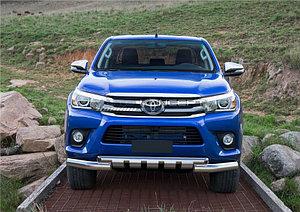 Защита переднего бампера d76+d57 с профильной защитой картера Toyota Hilux 2015-