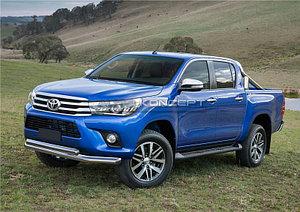 Защита переднего бампера d76+75х42 овал Toyota Hilux 2015-