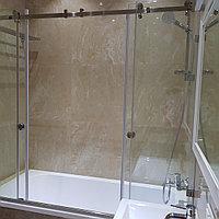 Стеклянная раздвижная перегородка на ванную