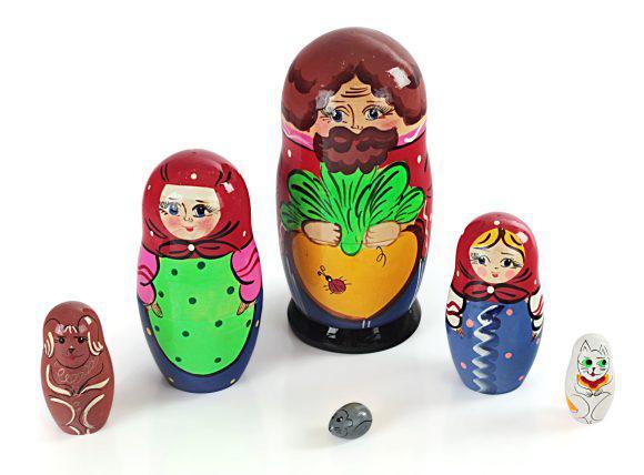 """Русские народные игрушки - Матрешка """"Репка"""" 6 персонажей"""
