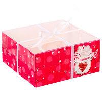 "Коробка для капкейка ""С Любовью"" 16 х 16 х 7,5 см."
