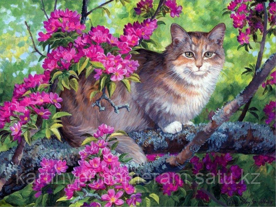 """Картина по номерам """"Котик на цветущей ветке"""""""