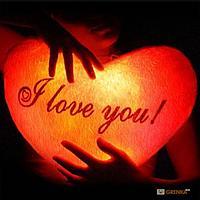 """Светящаяся подушка в виде сердца """"I Love You"""", фото 1"""