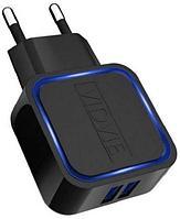 USB адаптер для быстрой зарядки Android и Apple устройств VIDVIE 2.1 с подсветкой (черный)