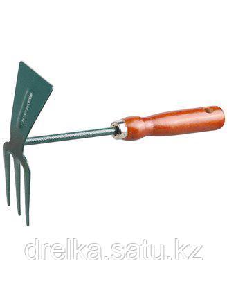 Тяпка мотыга GRINDA 8-421235_z01, прямое лезвие, рыхлитель 3 зубца, из углеродистой стали с деревянной ручкой