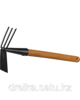 Тяпка мотыга GRINDA 421517, PROLine, с деревянной ручкой, лопатка, рыхлитель 3 зуба