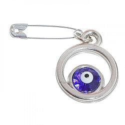 """Булавка-оберег """"Круг с глазиком"""", 2 см, цвет синий в серебре"""