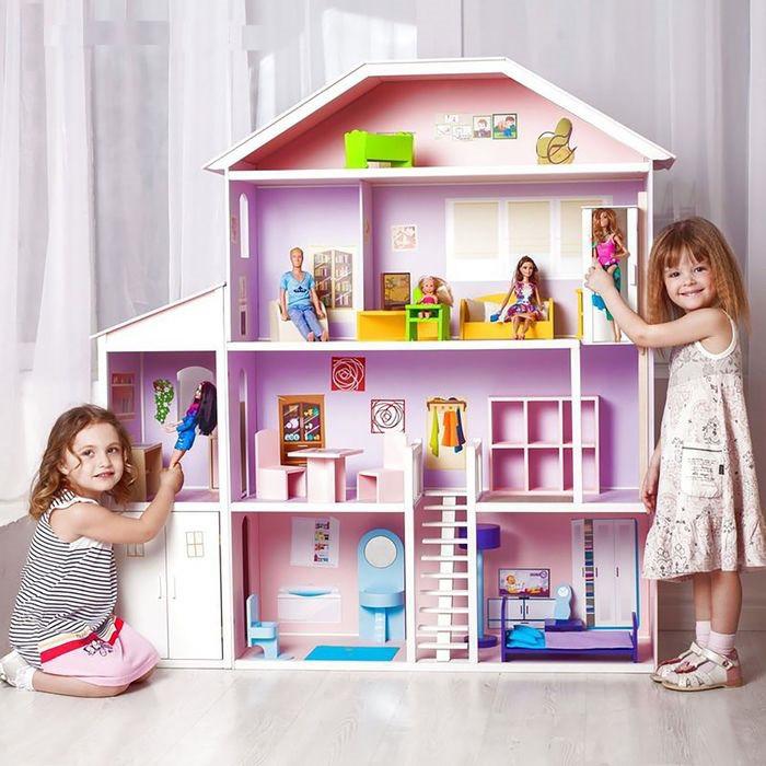"""Игровой набор """"Деревянный дом для кукол"""" - Фантазия с мебелью, гаражем, лестницей и лифтом"""