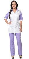 """Костюм """"ИОНА"""" женский: куртка, брюки, белый с сиреневым, фото 1"""