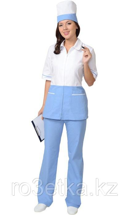 """Костюм """"СТЕФАНИ"""" женский: куртка, брюки, колпак белый с голубым"""