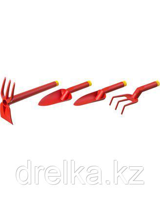 Набор GRINDA: Совок посадочный широкий, совок посадочный узкий, рыхлитель, мотыга-рыхлитель, 4 предмета