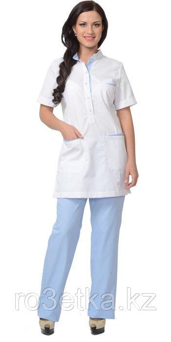 """Костюм """"ЭВИТА"""" женский: блуза, брюки белый с голубым"""