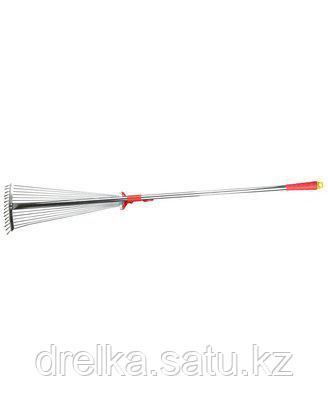 Грабли веерные GRINDA 8-421867_z02, алюминиевый черенок, 15 круглых зубцов , фото 2