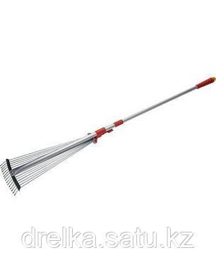 Грабли веерные GRINDA 421868, алюминиевый телескопический черенок, 15 круглых зубцов, фото 2
