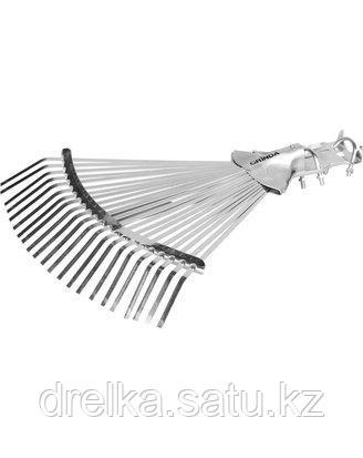 Грабли веерные GRINDA 421873, регулируемые усиленные, 22 плоских зубца