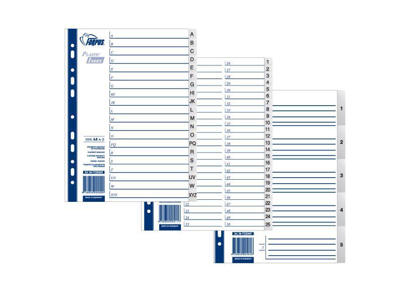 Разделители документов Forpus, РР А4, 1-20, серый