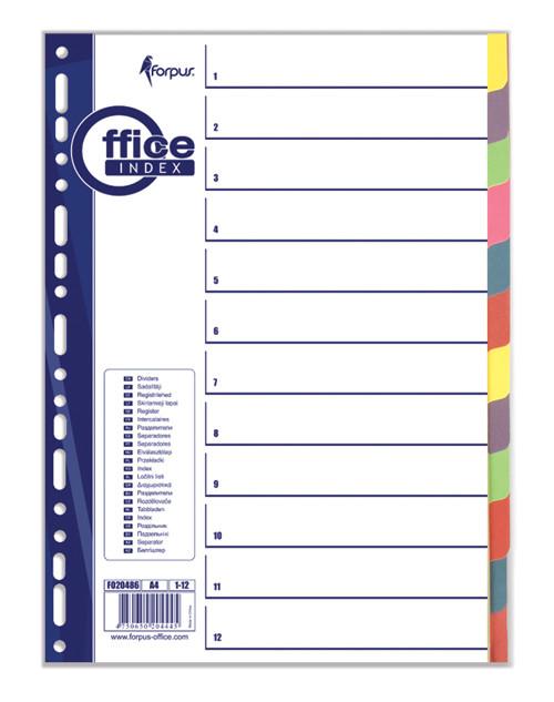 Разделители документов А4, 1-12 цвет, бумажный