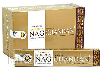 Благовония Золотой Наг Чандан, Сандал, Golden Nag Chandan Vijayshree Fragrance, 15грамм