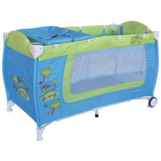 Кровать-манеж LORELLI DANNY 2 Сине-зеленый/Blue&Green CAR 1714