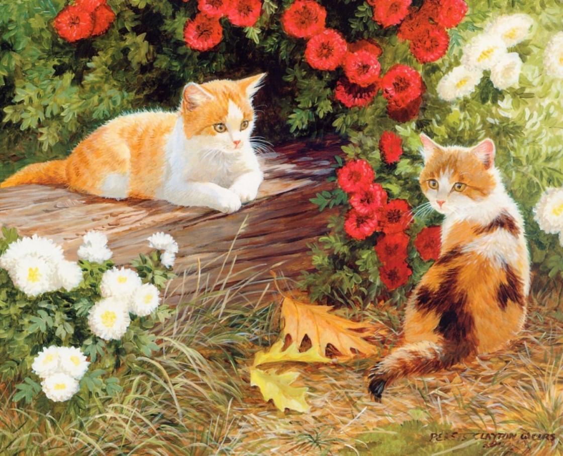 """Картина по номерам """"Кошечки в саду"""" Персис Клейтон Вейерс"""